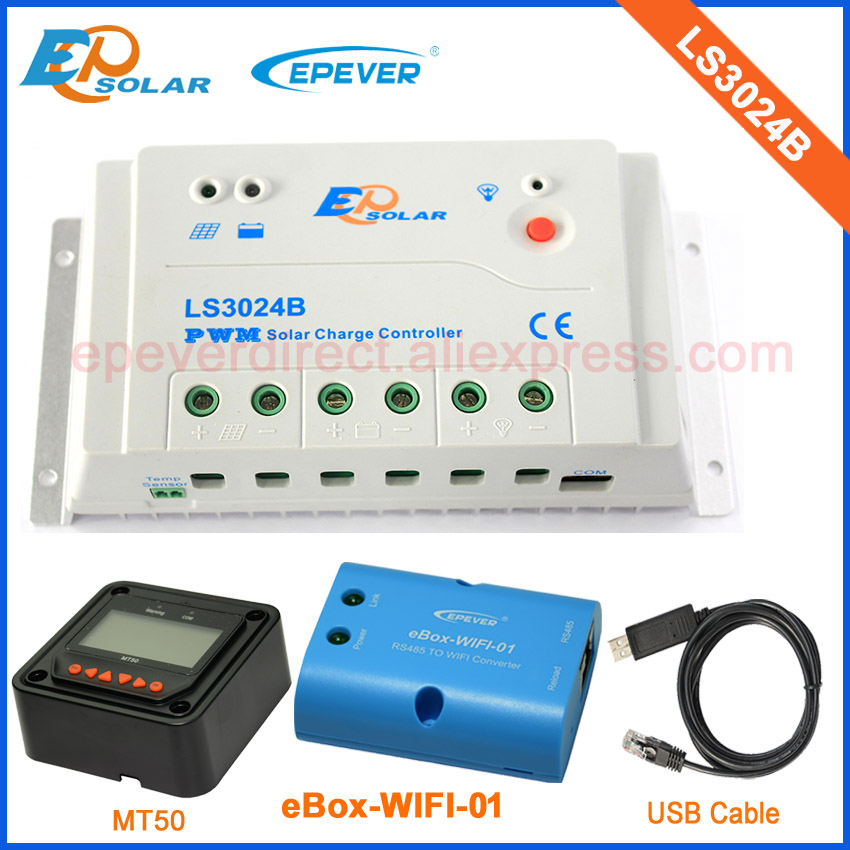 PWM solar panel controller LS3024B 30A 30amp with MT50 wifi function and USB cable ep new series pwm regulator solar panel system controller with usb cable and mt50 remote meter vs3024bn 30a 30amp