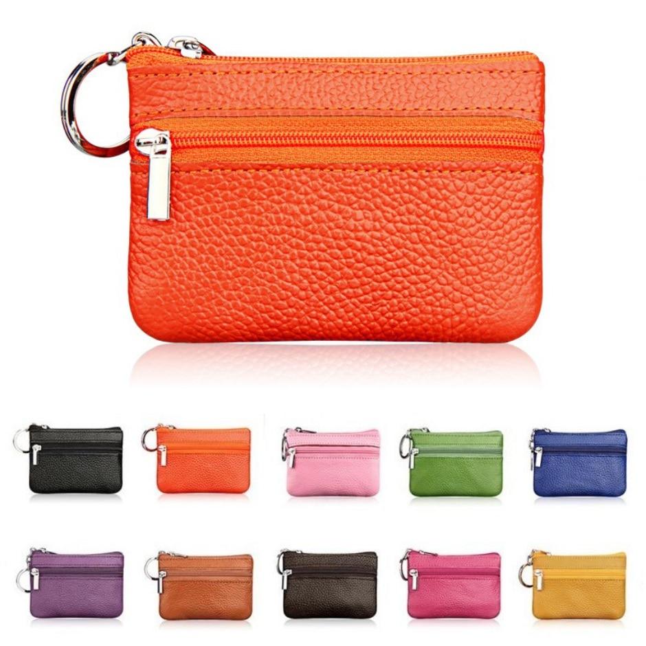 2019 Women Leather Coin Purse Key Holder Zip Wallet Pouch Bag Purse New Brand Men Soft Genuine Card Holder #w