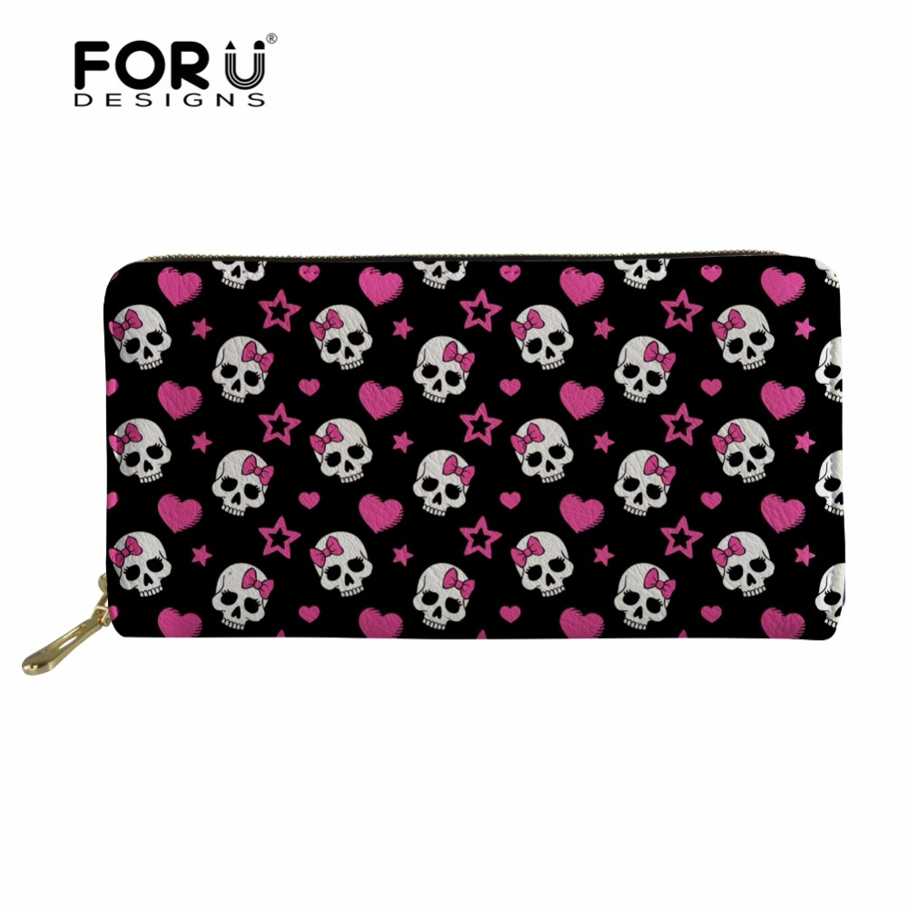 FORUDESIGNS Waterproof Women's Wallet Cute Skulll Pattern Long Coin Purse Bags for Ladies Travel Leather Wallet Card Holder Bags