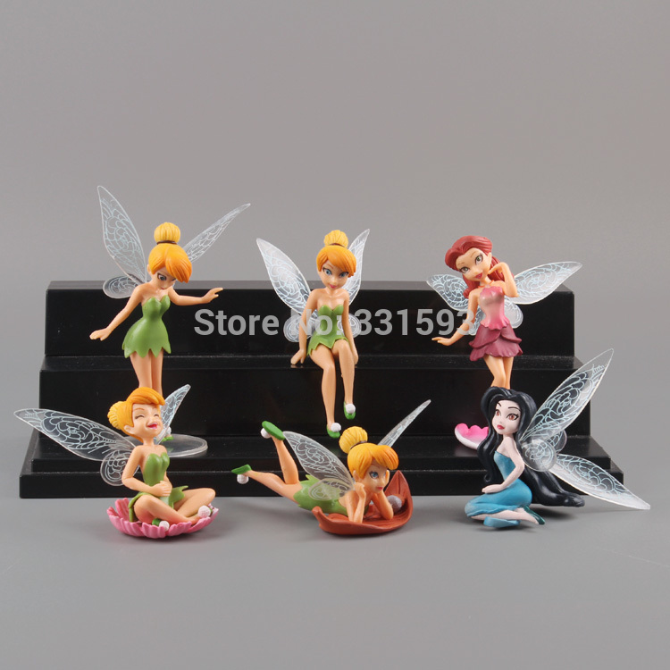 6pcs/set Free Shipping Anime Cartoon Tinkerbell Fairy PVC Action Figure Toys Girls Dolls Gift DSFG127