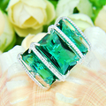 Luckyshine 2016 New Design Rhinestone High Quality Rings Green Amethyst Ring Free And Fast Shipping