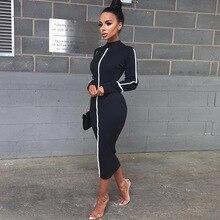 2019 Elegant Mid Long Women Dress Vintage Black White Block Color Dress Slim Long Sleeve Women Pencil Dress