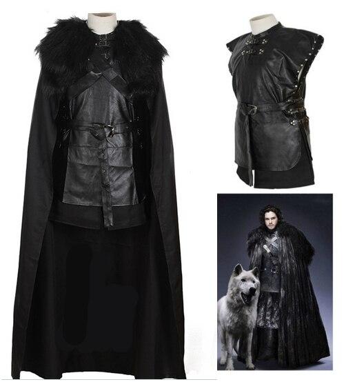 Джон Сноу костюм с плащом Песнь льда Игра престолов Хэллоуин костюм для Для мужчин