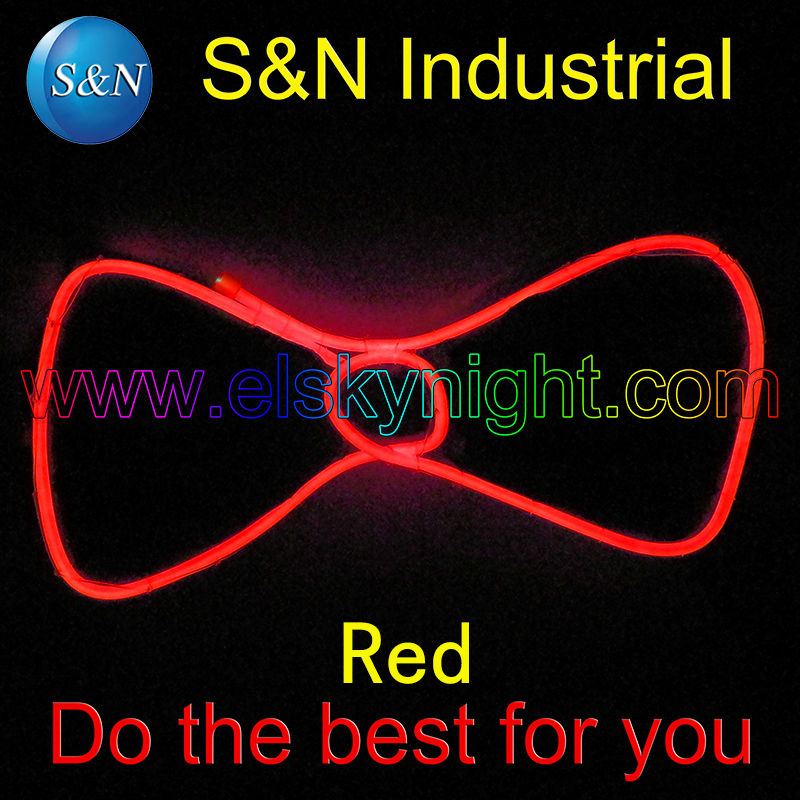 2017 Future Warrier Red Light Up LED Bow Tie Glowing EL Wire Bow Tie For DJ,bar,club And Evening Party