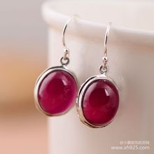 The little black silver wholesale network 925 sterling red corundum atmosphere for women fashion earrings