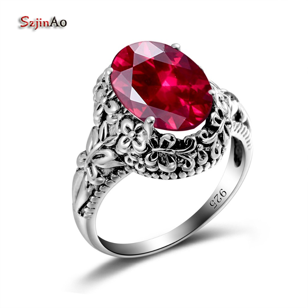 Szjinao Puzzle Sterling Silver 925 Rings For Women Oval Vintage Red Cubic  Zirconia Anime Punk Bachelorette
