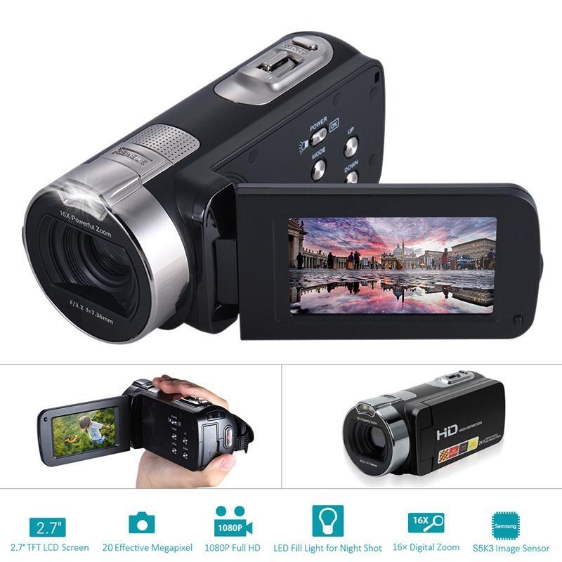 Mini 2.7 Inch Digital Cameras 24 million Pixels Video Camcorders DV Rotating LCD Screen Point Shoot Cameras Portable EU Plug