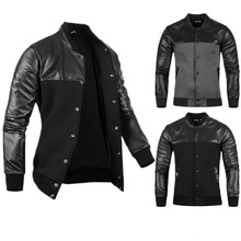 Man jacket autumn Mens PU Leather Stitching Black/Grey Leisure Jackets Skim casual outerwear mens and coats