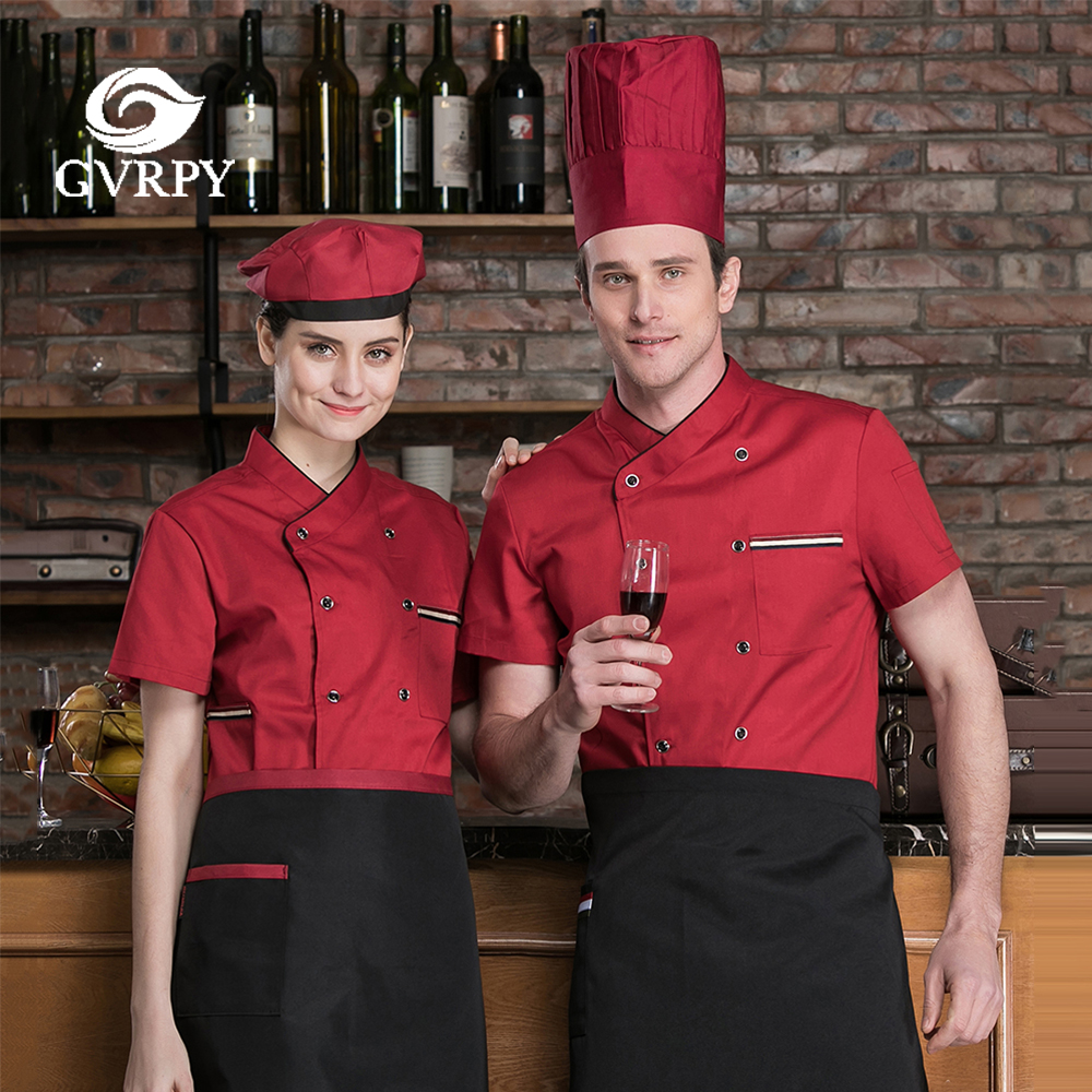 New Kitchen Restaurant Hotel Cooking Work Uniform Summer Chef Waiter Short Sleeve Shirt Catering Bakery Food Service Chef Jacket