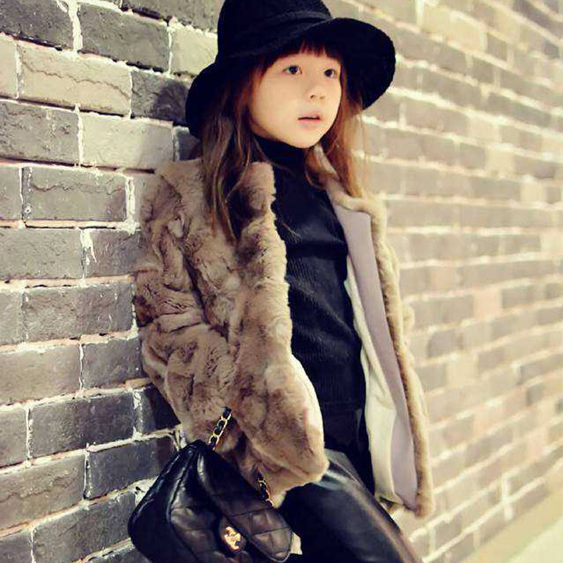 Top quality!Princess coat 2015 Girls Fall and Winter Coat Kids Really 100% Rabbit Fur Grass Coat,Child Thick Plush Fur Coat ein fall fur tessa