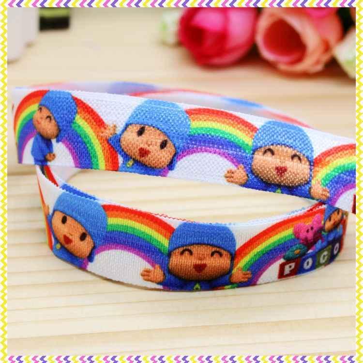 DHK 5/8 ''5 metros Dobre INIMIGO Elástico pocoyo impressa headband headwear faixa de cabelo decoração diy OEM Atacado C113