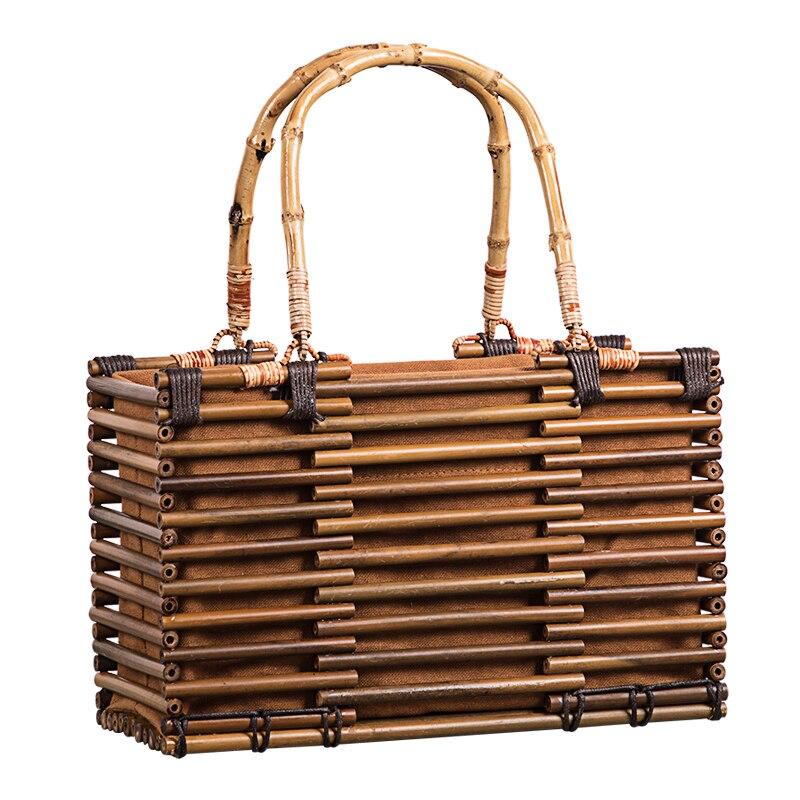 2019 Luxury Designer Beach Bags Small Fashion Bamboo Bag Women Travel Straw Tote Clutch Trunk Ladies