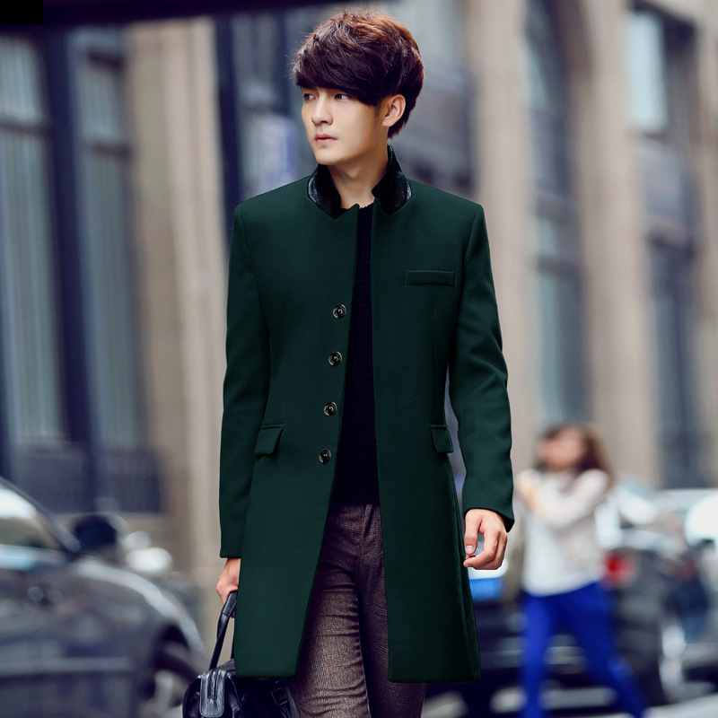 Green Wool Coat Men s New Autumn and Winter Solid Color Slim Men Casual Windbreaker and