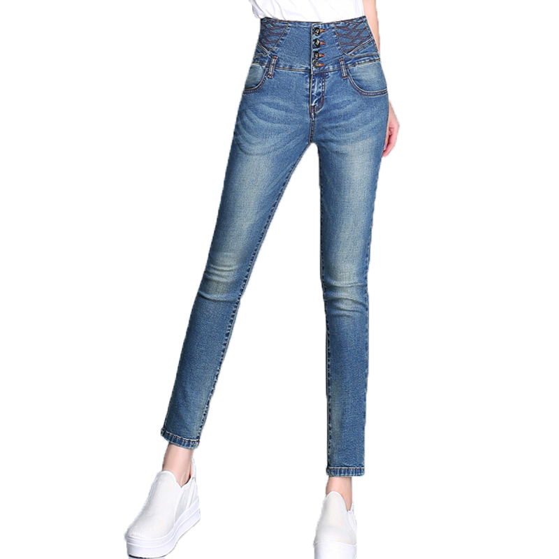{Guoran} 2017 summer women jeans pencil pants denim blue jeans trousers ankle length high waist plus size 26-33 femme pantalon high waist jeans women plus size femme stretch slim loose large size jeans pants 2017 casual ankle length haren pants trousers