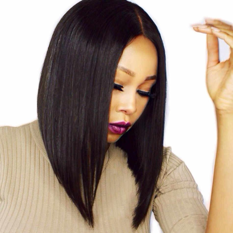 ALIBELE волос перуанский прямые короткие боб парик 13x6 синтетические волосы на кружеве парик 150% Remy натуральные волосы для черный для женщин 10 12 14 дюймов