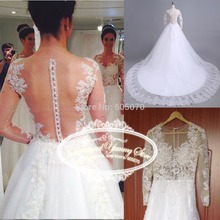 Real Photo New Elegant White Tulle Wedding Dress Vestido de Noiva with Lace Applques Long Sleeves and Sequins