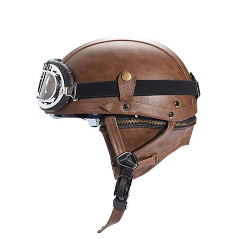 PU leather Motorcycle helmet Retro Harley half helmet ...