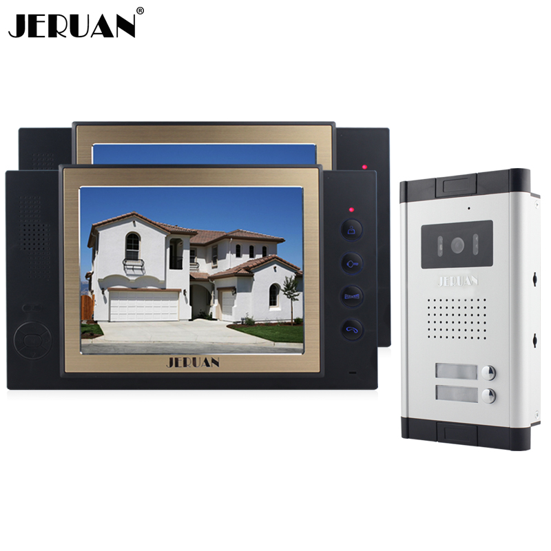 JERUAN Apartment 8 inch LCD color Video Door Phone Record Intercom System 700TVL IR COMS Camera for 2 Call Button 8GB SD CARDJERUAN Apartment 8 inch LCD color Video Door Phone Record Intercom System 700TVL IR COMS Camera for 2 Call Button 8GB SD CARD