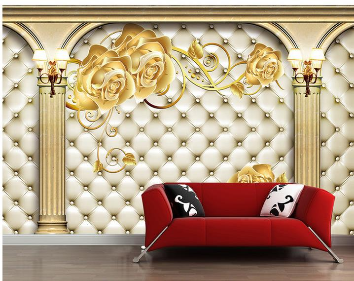 Us 12 6 58 Off 3d Wallpaper For Room Roman Column Gold Rose Background Wall Mural 3d Wallpaper 3d Bathroom Wallpaper In Wallpapers From Home