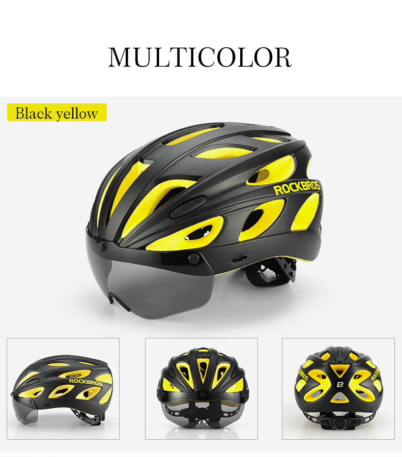 ROCKBROS Bicycle Helmets with Sunglasses Integrally molded Ultralight Goggles Safety Caps MTB Mountain Road Cycling Bike Helmet in Bicycle Helmet from Sports Entertainment