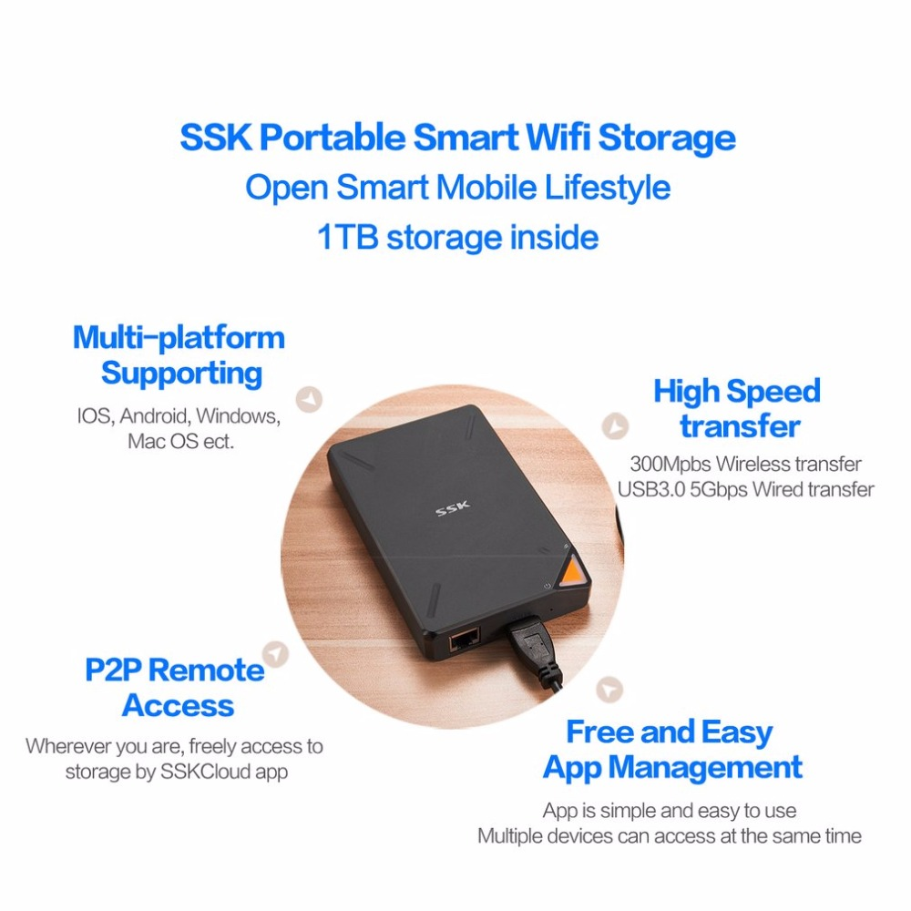 SSK SSM-F200 WIFI External Hard Drives 1TB Built-in Battery High Capacity Hd HDD Wireless Smart Memory Hard Disk For IOS For Mac