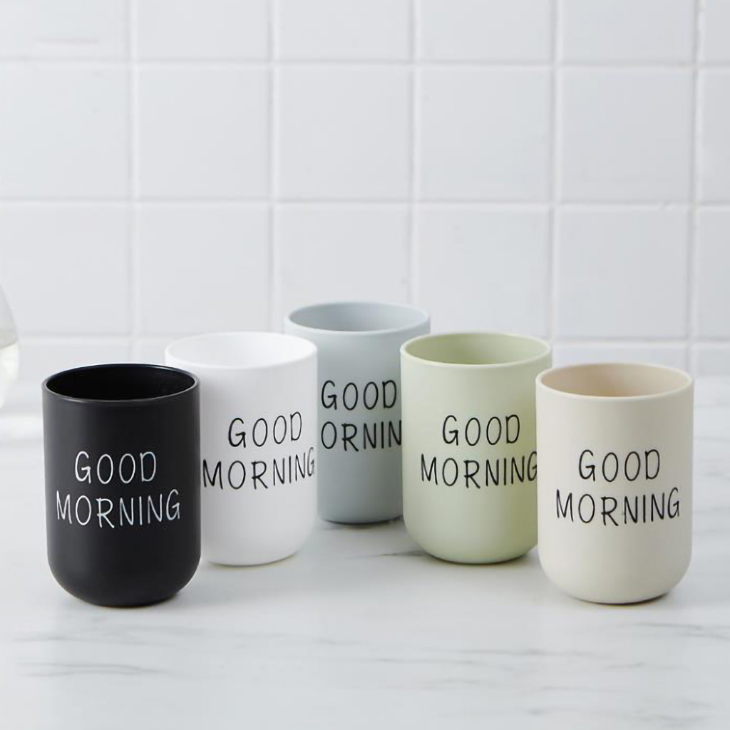 2019 Bathroom Tumblers Toothbrush Cup Circular Simple Plain Cup Couple Tooth Cup Good Morning 328A