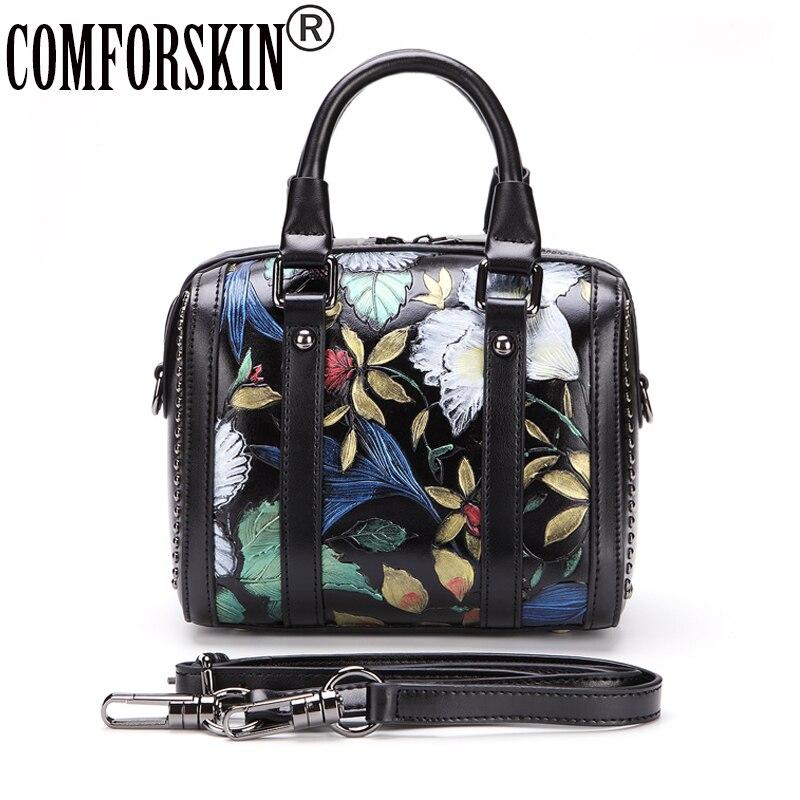 COMFORSKIN New Arrival Luxury Genuine Leather Embossing Women Handbag 2017 European And American Travelling Shoulder Hand Bags