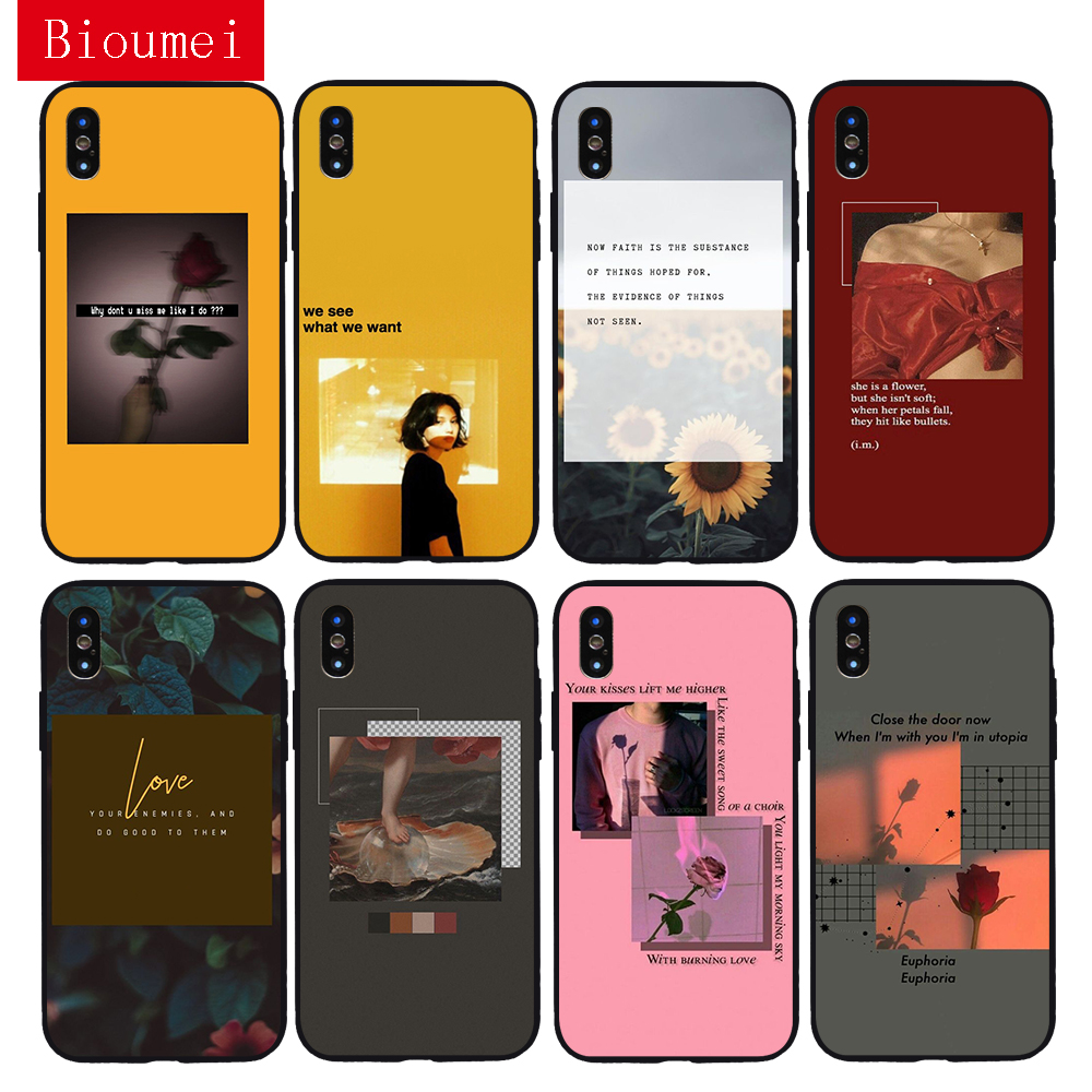 Bioumei garden vacation vintage <font><b>red</b></font> aesthetic Soft TPU <font><b>Case</b></font> for <font><b>iPhone</b></font> 11 Pro Max XR XS Max 7 8 <font><b>Plus</b></font> 5 <font><b>6</b></font> 6S <font><b>Plus</b></font> Cover for X 03 image