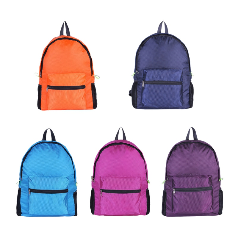 Collection Here Double Shoulder Backpack Diamond Pattern Large Capacity Nylon Lightweight Folding Waterproof Breathable Bag Sportswear Acces Lustrous
