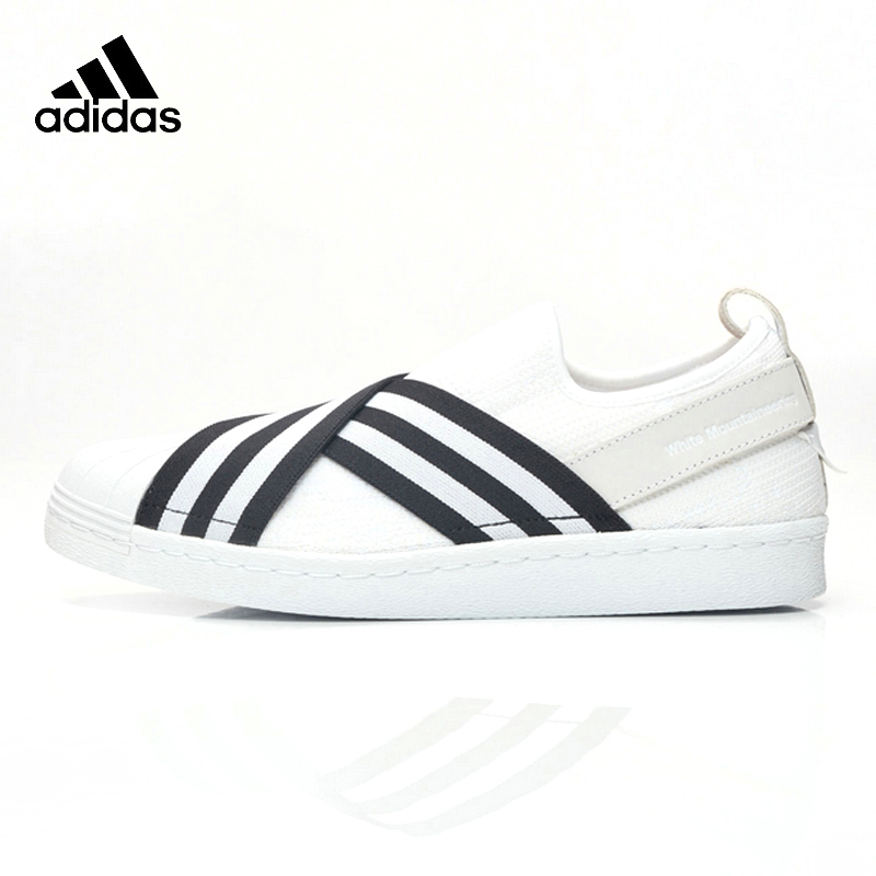 цена на Adidas Originals Women Men White Sneakers Mountaineering Superstar Slip on Unisex Skateboarding Shoes Breathable Sports Shoes