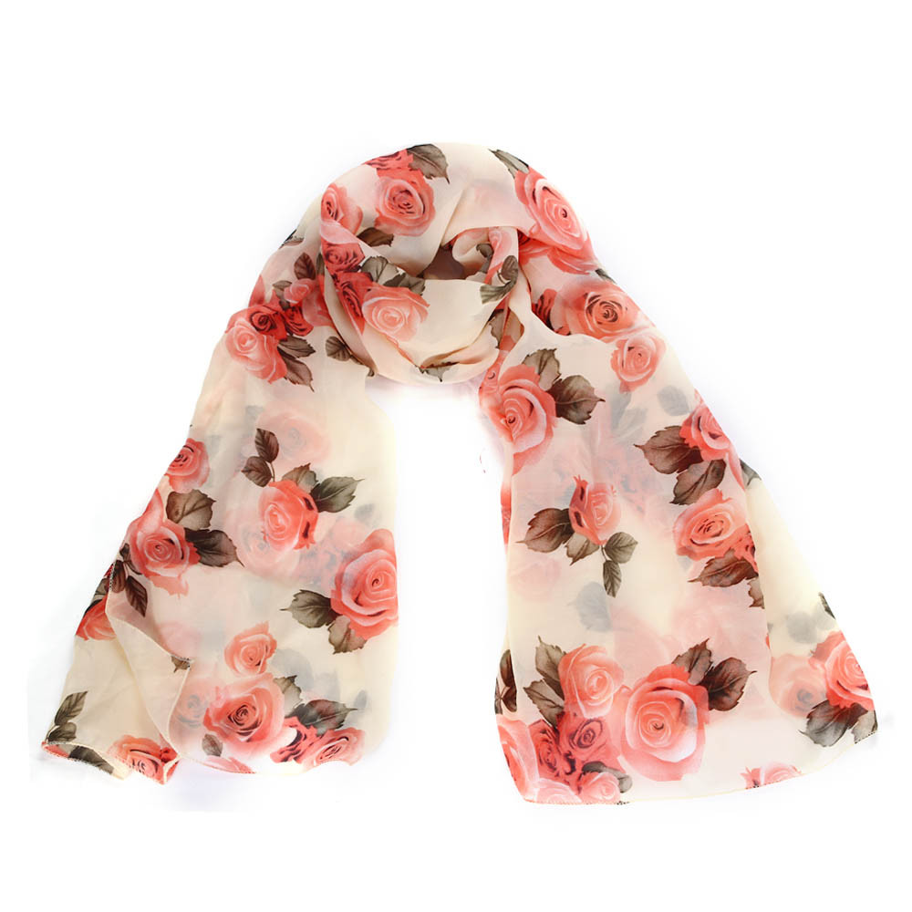 Amazing Collocation 2017 Mixed Color Womens Scarf foulard Rose Voile Long Stole Shawl High Quality Silk Scarf &P2