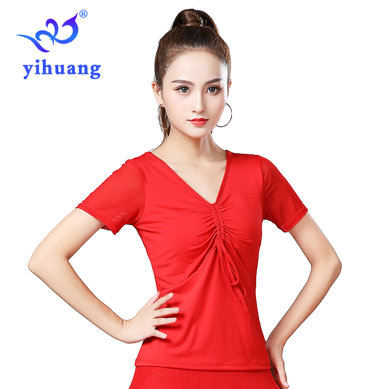Women Ballroom Dance Blouse Tango Waltz Standard Modern Dancing Tops Performance Wear Blouses for Latin Quickstep Short Sleeves in Ballroom from Novelty Special Use