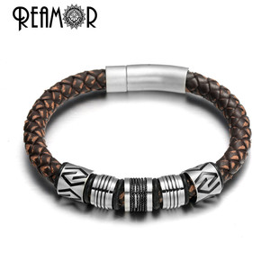 Image 2 - REAMOR New Classic Men Hand craft Genuine Leather Bracelet Stainless Steel Matte Button Clasp Bangles Jewelry Dropshipping