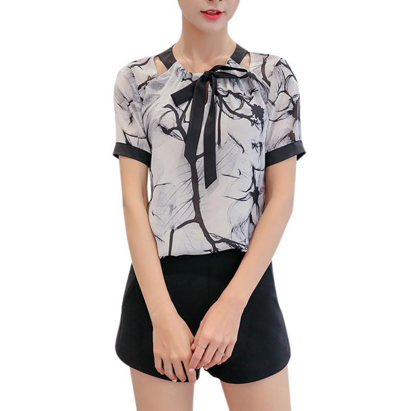 2018 Mode Beiläufige Dünne Kurzen Ärmeln Chiffon Shirts Elegante Dame Büro Blusen Tops Heißer Verkauf