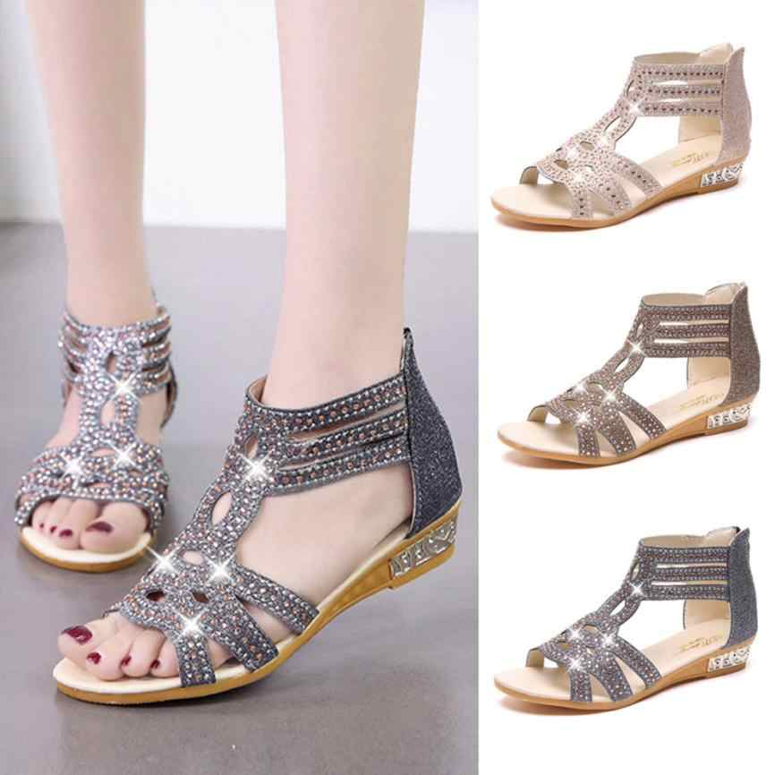 b825a0785a9a sandals women Spring Summer Ladies Women Wedge Sandals Fashion Fish Mouth  Hollow Roma Shoes 2018 vip