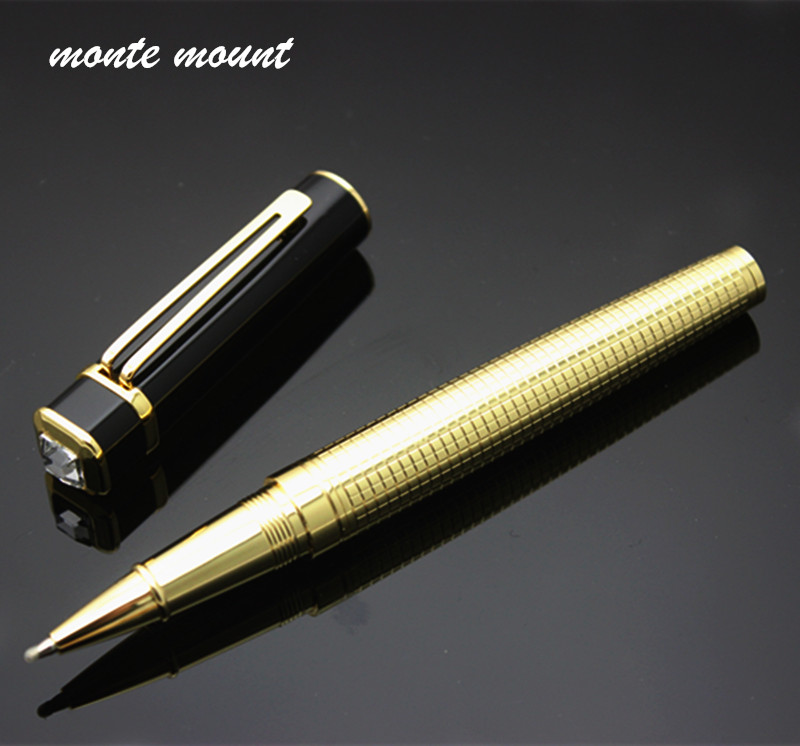 Free Shipping Rollerball Pen High-end Gold black and gold diamond Ballpoint Pen Black Ink Medium Refill Gift Pens детский велосипед для мальчиков novatrack cosmic 14 2017 blue