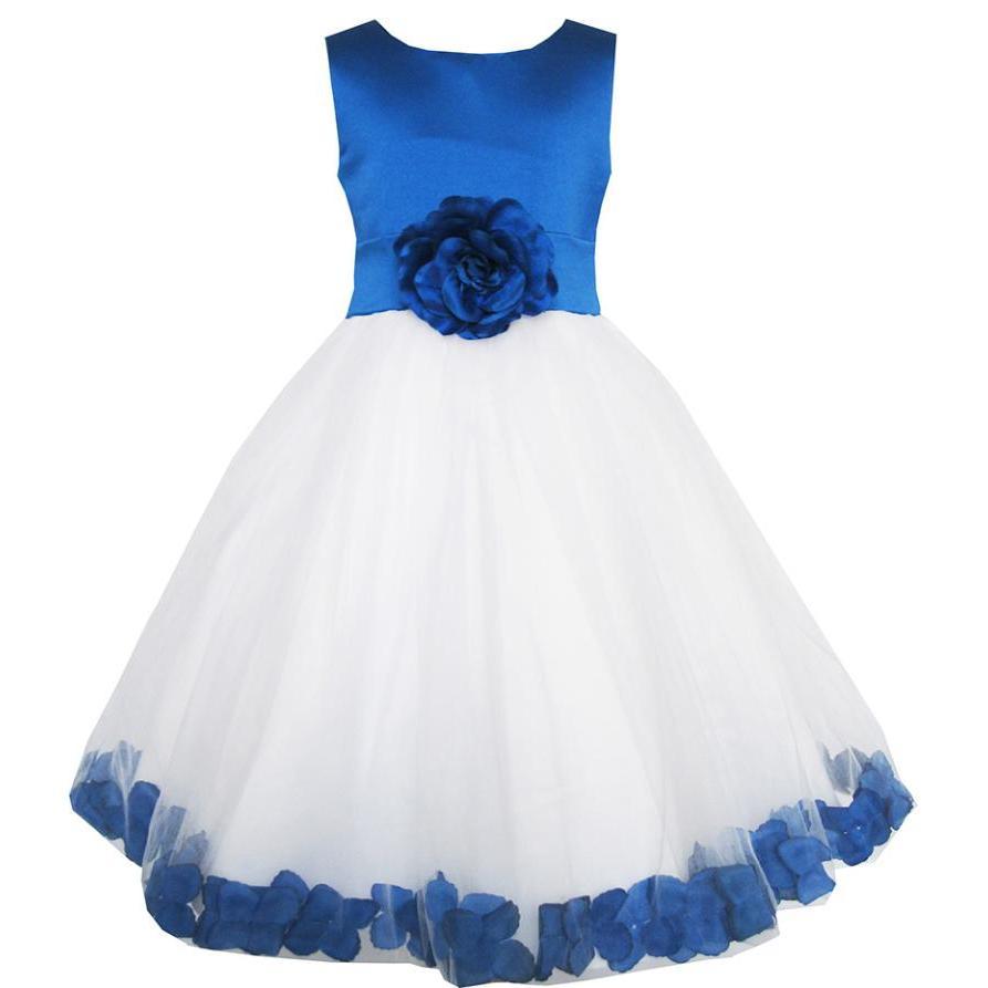 Tjejer Klänning Blå Blomma Tulle Bröllopssida Bridesmaid - Barnkläder
