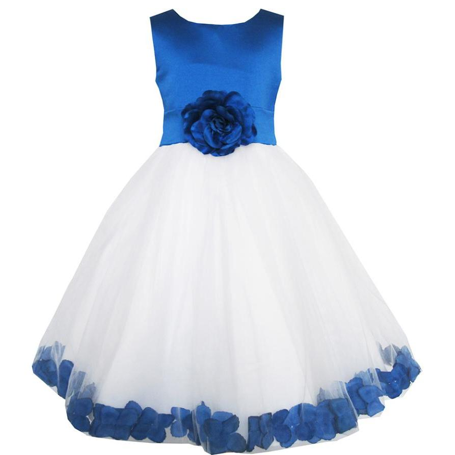 Sunny Fashion Girls Dress Blue Flower Tulle Wedding Pageant Bridesmaid Kids Clothes 2018 Summer Princess Party Dresses Size 2-14 блок питания cooler master v550 modular 550w rs550 afbag1 eu
