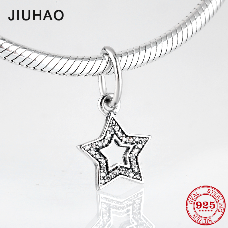 Fashion 925 Sterling Silver hollow out five-pointed star CZ Fine Pendants Fit Original Pandora Charm Bracelet Jewelry makingFashion 925 Sterling Silver hollow out five-pointed star CZ Fine Pendants Fit Original Pandora Charm Bracelet Jewelry making