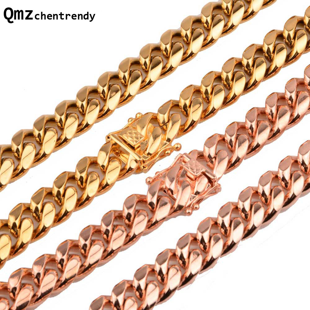 8mm/10mm/12mm/14mm Stainless Steel Curb Cuban Chain Necklace Boys Mens Fashion Chain Dragon Clasp Gold RoseGold jewelry 25mm mens boys gold
