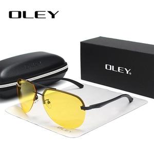 Мужские солнцезащитные очки OLEY, желтые поляризационные очки с функцией ночного видения, брендовые дизайнерские очки для вождения автомоби...
