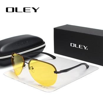 5abca5582a OLEY amarillo polarizado gafas de sol hombre gafas de visión nocturna,  diseñador de marca,