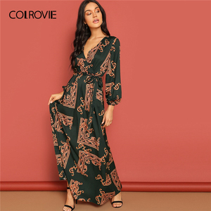 Image 4 - COLROVIE V Neck Scarf Print Belted Wrap Casual Dress Women 2019 Spring Long Sleeve Party Maxi Dress Vacation Ladies Dresses