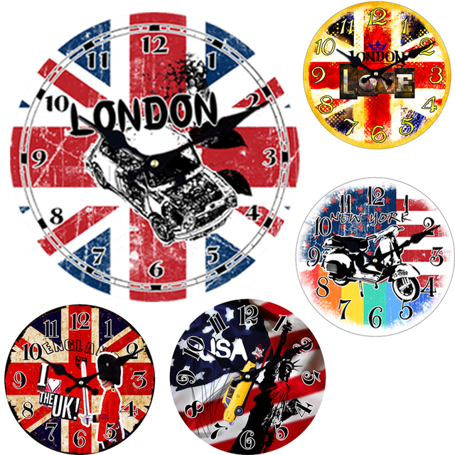 WONZOM Car London Design Large Wall Clock Silent Living Room Wall Decor Saat Home Decoration Modern Watch Wall Gift Reloj