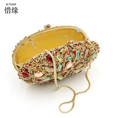 все цены на XIYUAN BRAND women 2017 European and American style oval luxury full diamond clutch evening hand bag dinner banquet shoulder bag онлайн