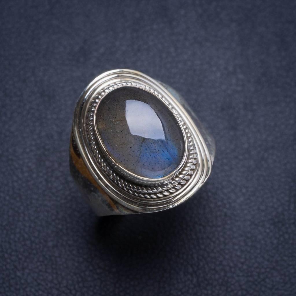 Natural Blue Fire Labradorite Handmade Unique 925 Sterling Silver Ring 8.75 Y4571 natural blue fire labradorite handmade boho 925 sterling silver earrings 1 25 u0962