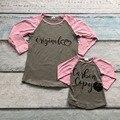 Renas bebê boutique meninas bonito T-shirt outono/crianças top roupas de inverno mãe e filho família olhar original e cópia babados