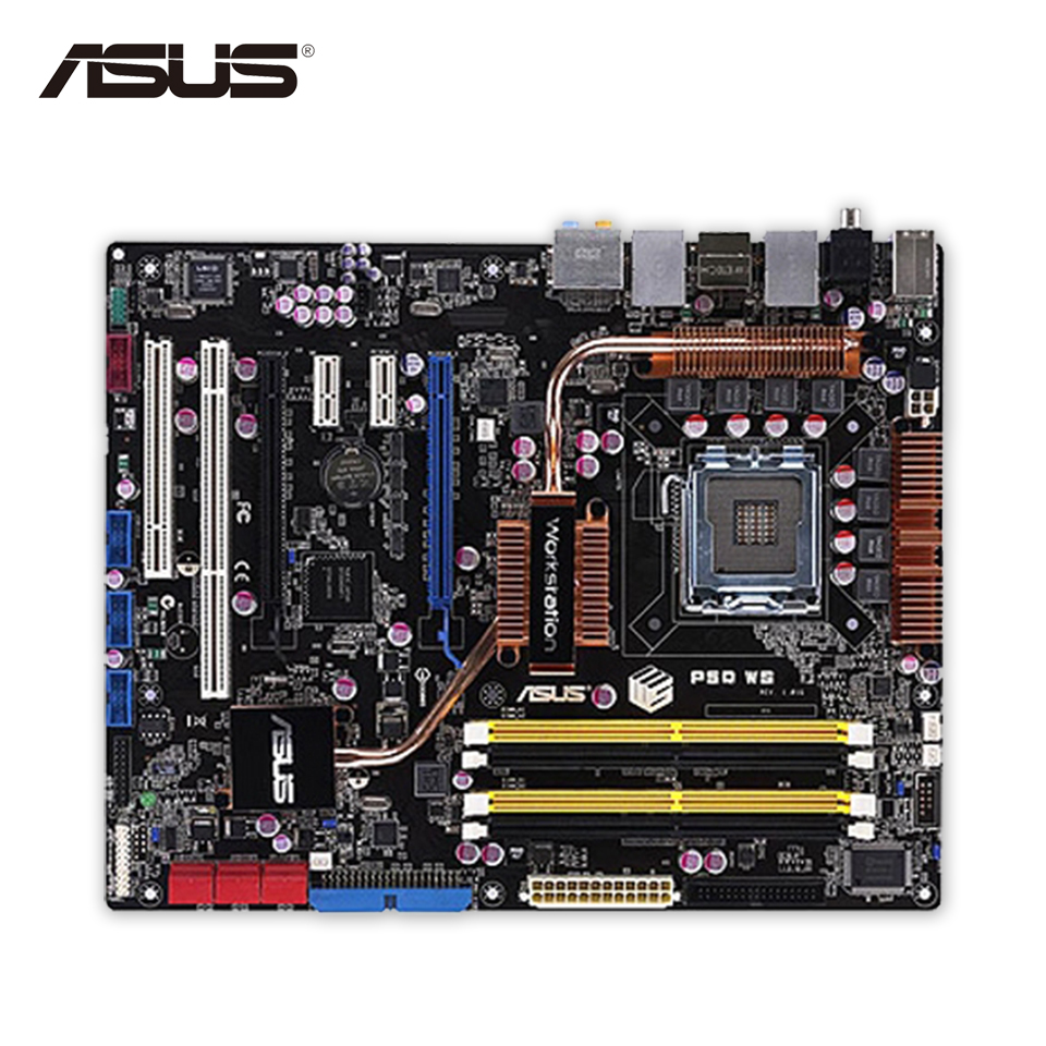 Asus P5Q WS Original Used Desktop Motherboard P45 Socket LGA 775 DDR2 8G SATA2 USB2.0 ATX asus p5kpl epu original used desktop motherboard p5kpl g31 socket lga 775 ddr2 atx on sale
