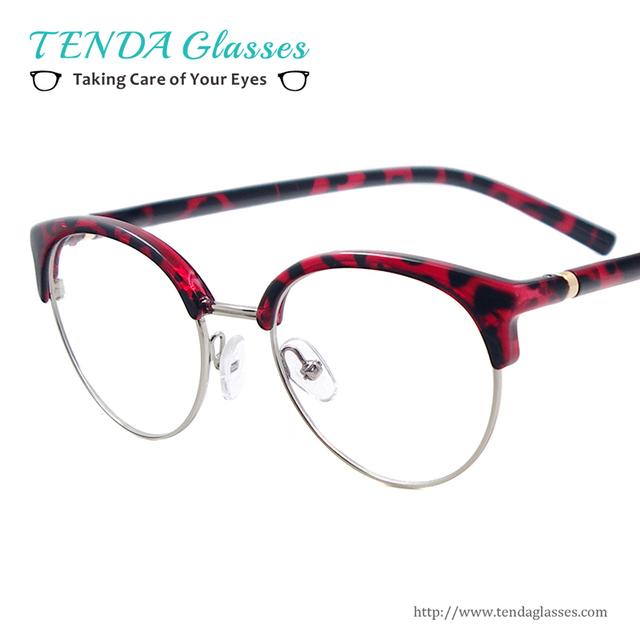 Mulheres Óculos Redondos De Plástico Leve Óculos Para Lentes de Prescrição Do Vintage