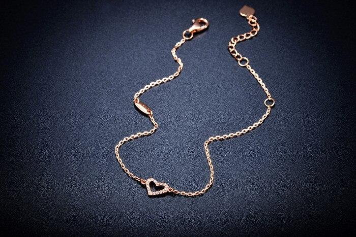 Стильный и элегантный 18 K розовый золотой браслет с бриллиантами женский Романтический браслет в форме сердца золотой браслет День святого Валентина